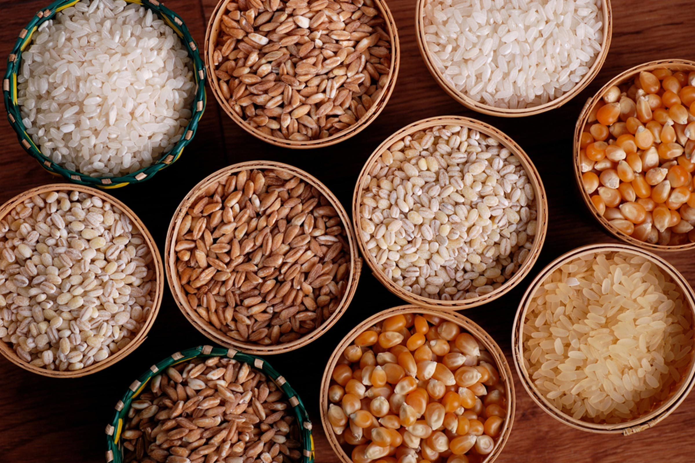 baskets of various grains