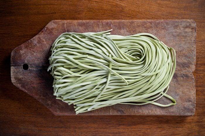 uncooked green pasta