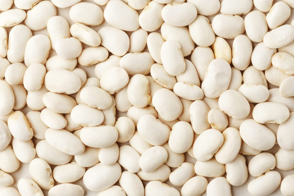 White beans. View from above. Macro. Texture.