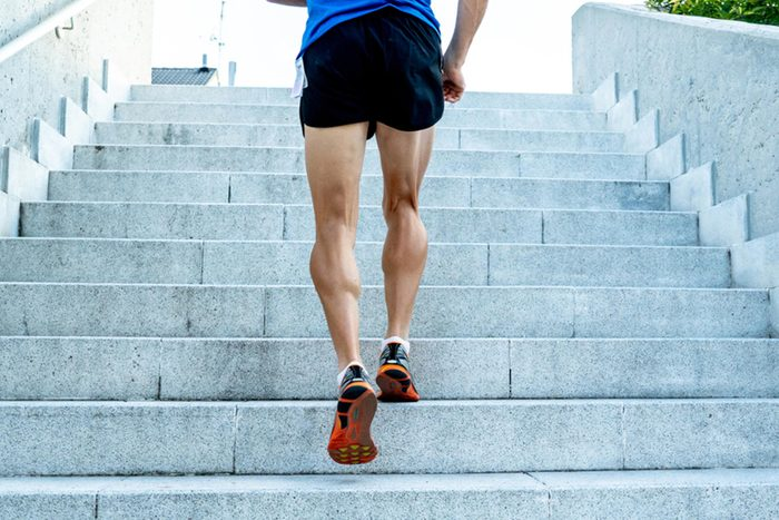 man exercising walking steps brain health