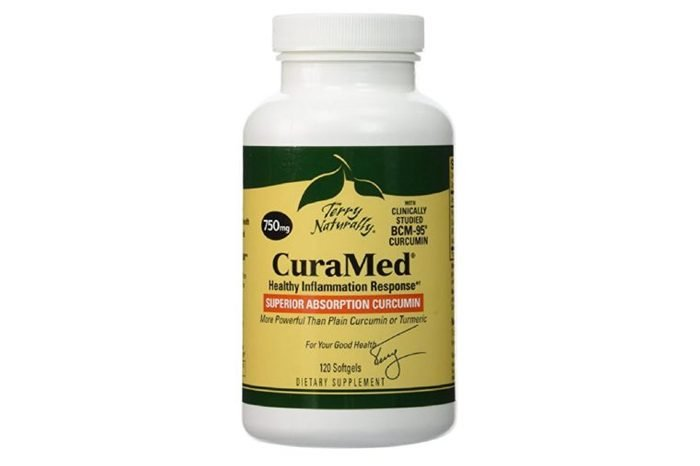 Bottle of CuraMed vitamins