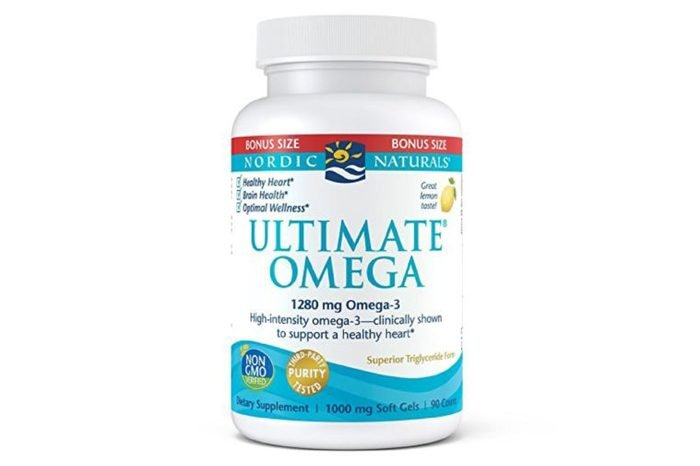 Bottle of Ultimate omega vitamins