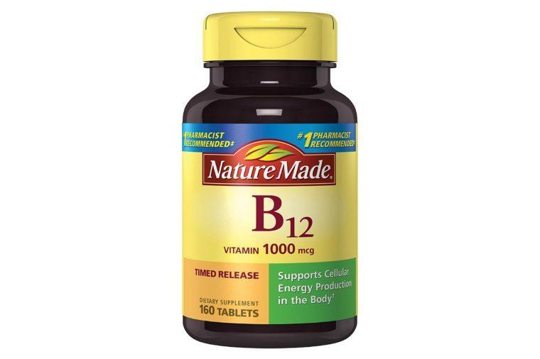 Bottle of NatureMade b12 vitamins