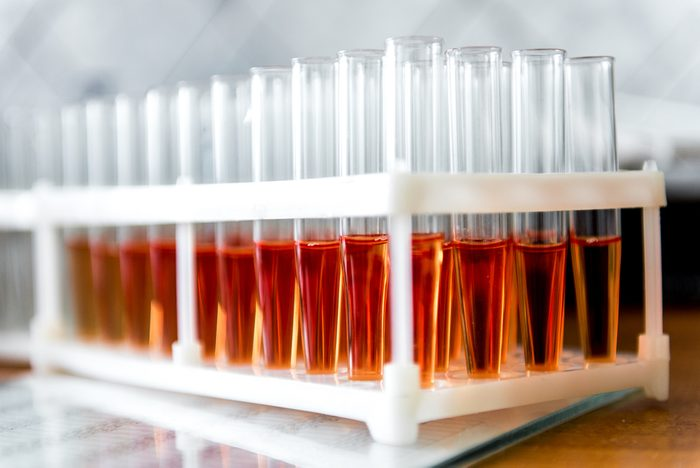 tubes with blood tests. Blood samples for research in microtubes