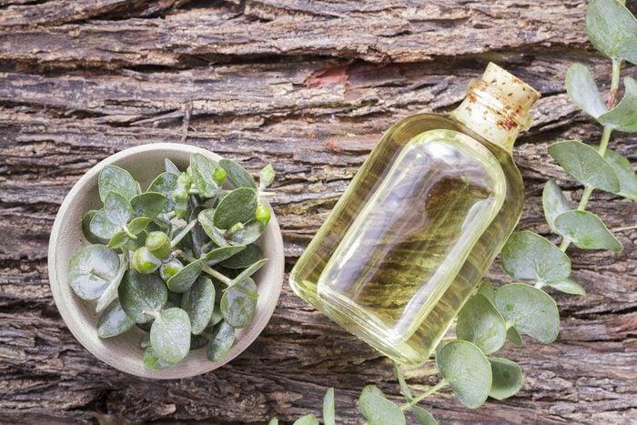 essence and eucalyptus leaves on wood