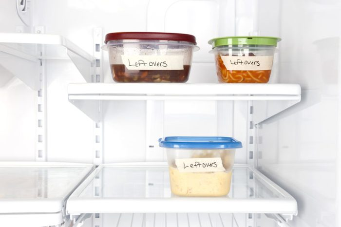 Leftover containers of food in a refrigerator for use with many food inferences.