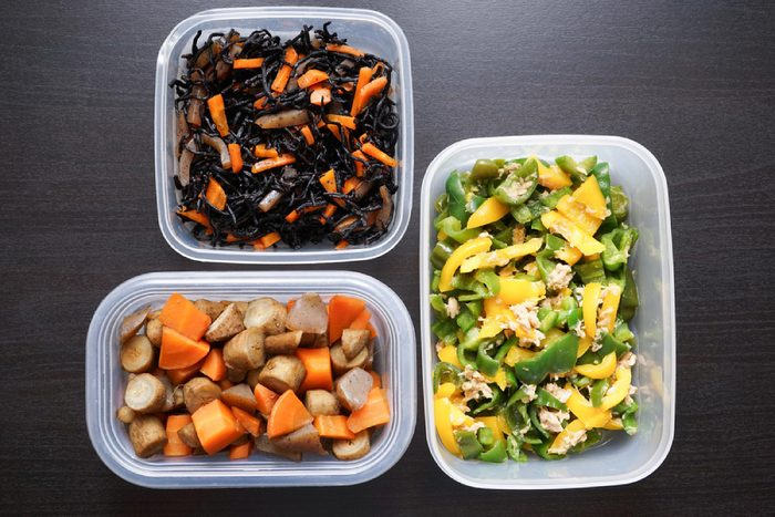 Meal prep plastic containers with healthy food