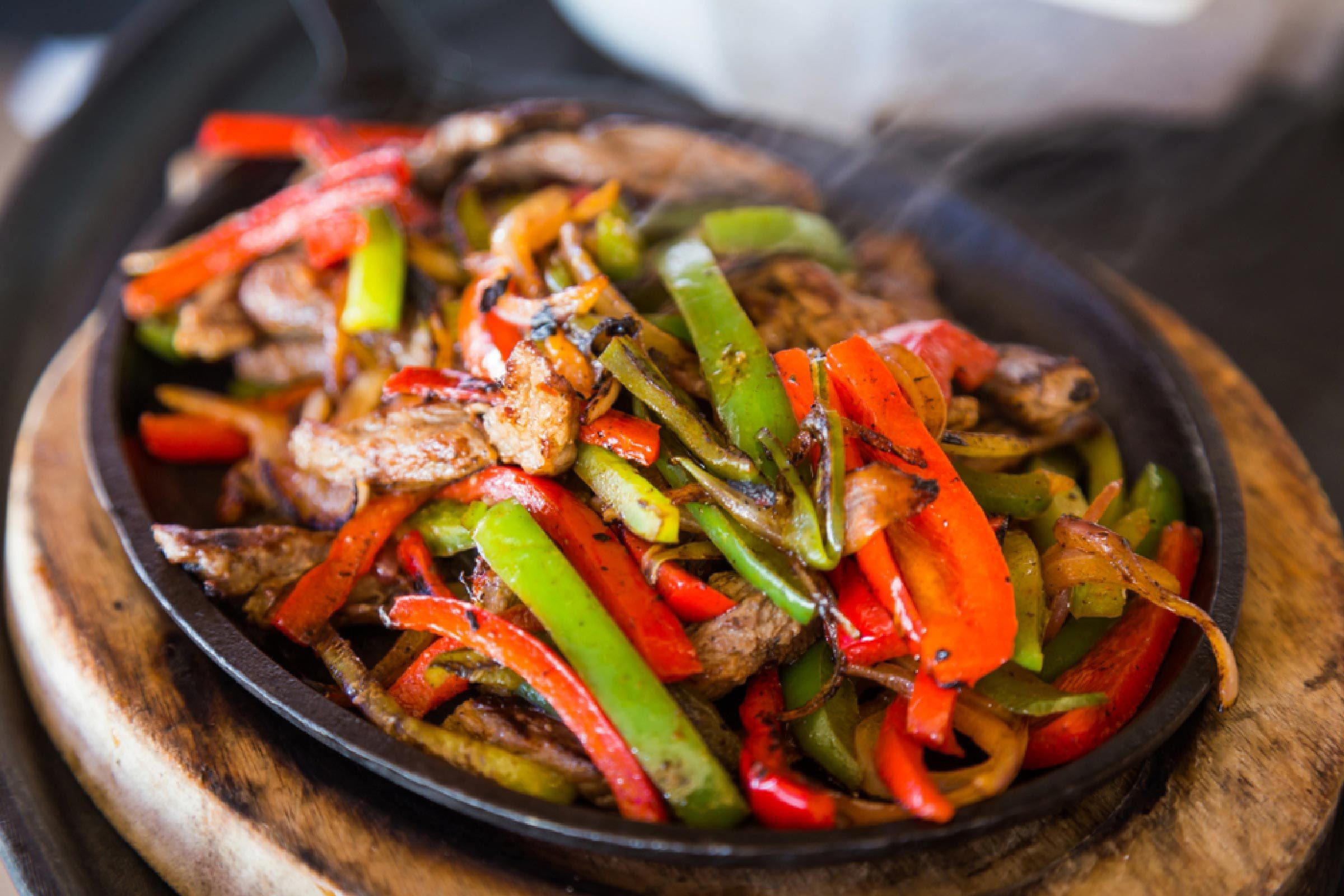 Mexican food. Beef Fajitas - Traditional dish of Mexico.