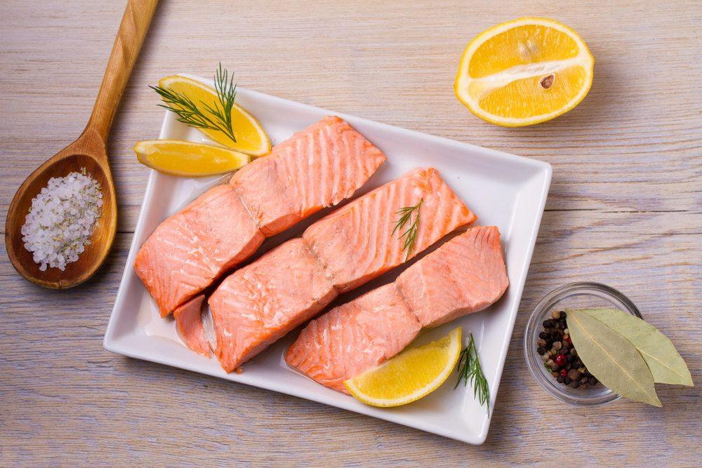 salmon on a platter