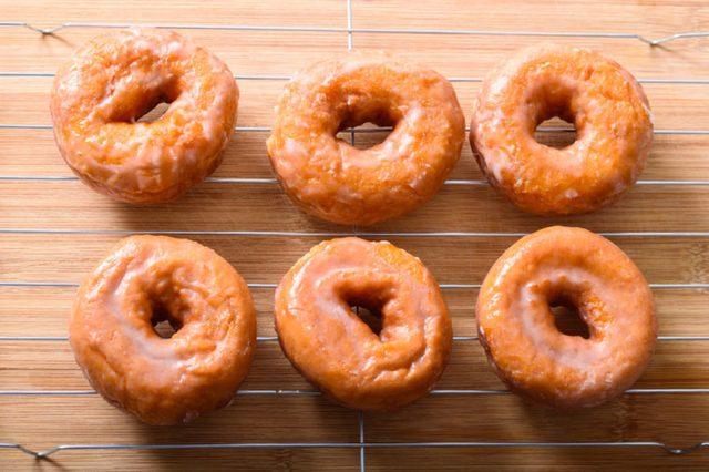 Glazed donuts on a rack