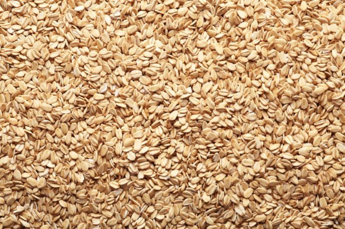 Raw rolled oatmeal flakes