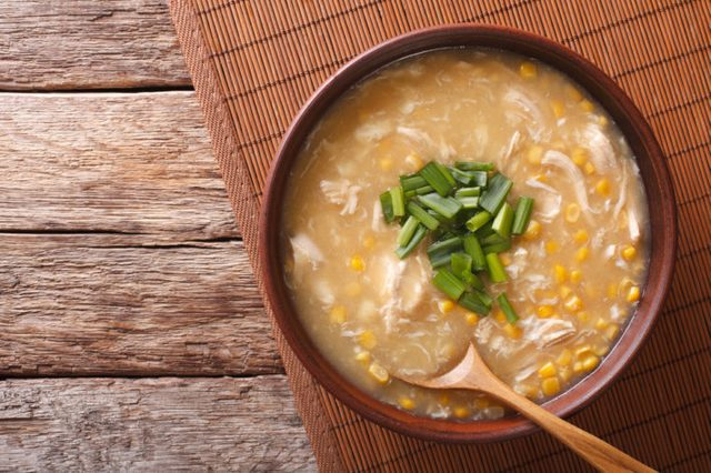Chinese corn and chicken soup in a bowl