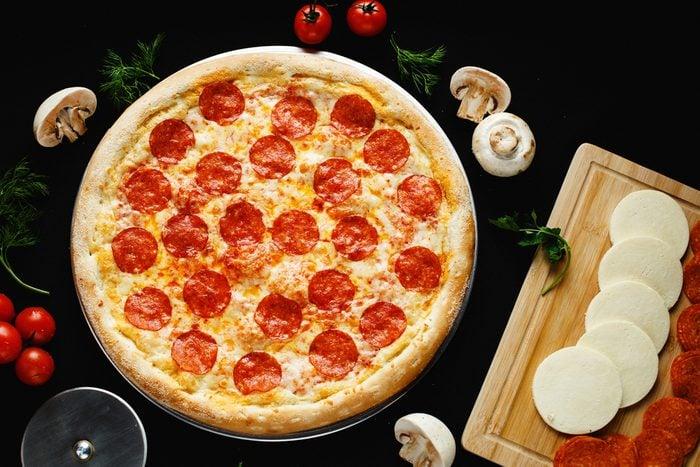 Pizza on black background
