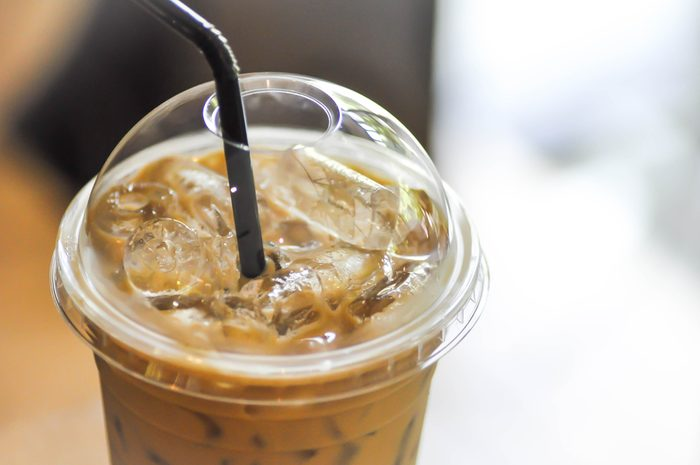 a glass of iced coffee ,iced cappuccino