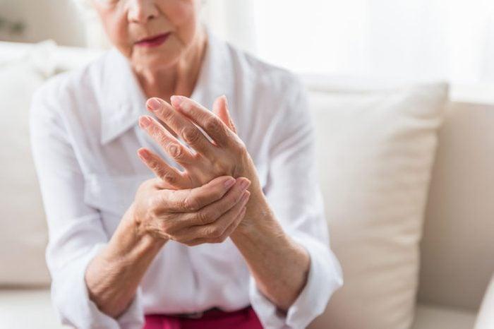 Elderly female is expressing pain