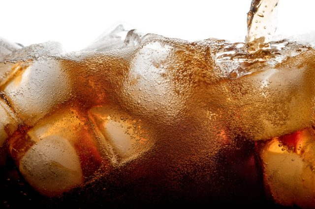 Cola and ice cubes