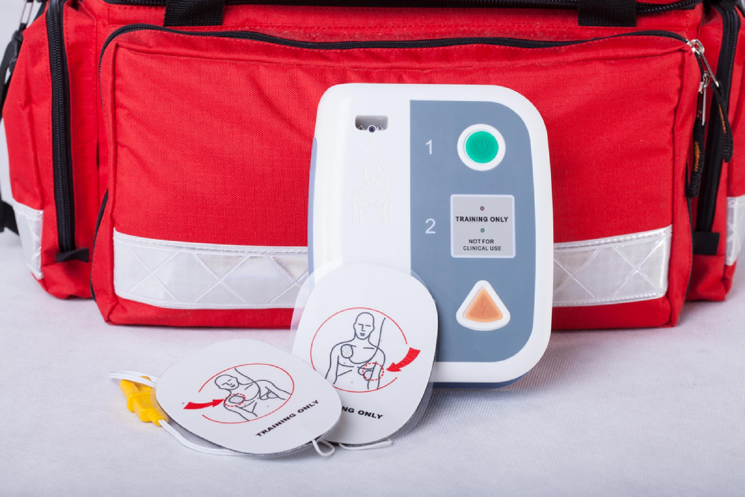 Automated External Defibrillator and rescue bag, horizontal