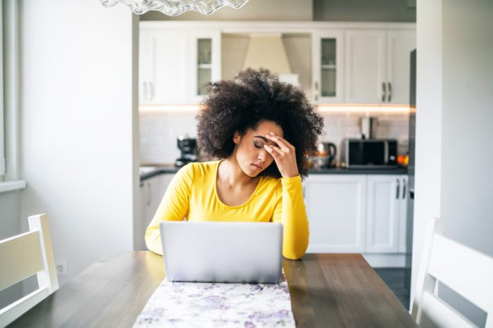 woman losing focus trying to work