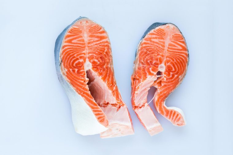 Two salmon steaks.