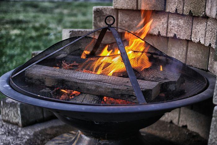 Flames in firepit