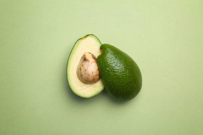 Avocado cut in half.