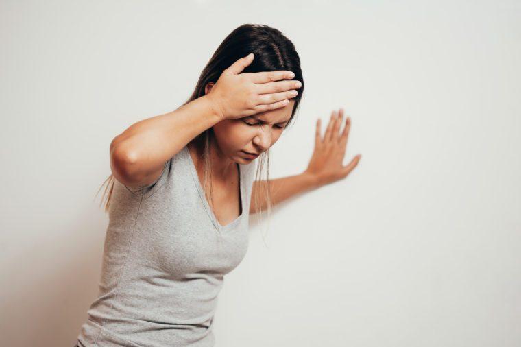 woman in head pain