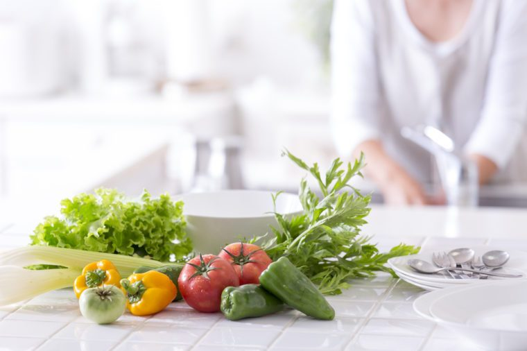 Vegetables on a kitchen counter.