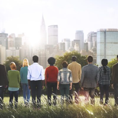 group of people overlooking city