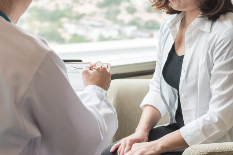 Female patient having consultation with gynecologist