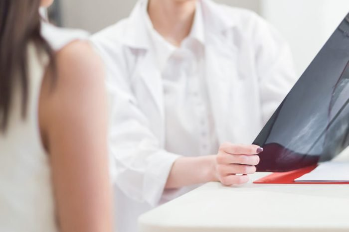 Doctor going over mammogram image with patient