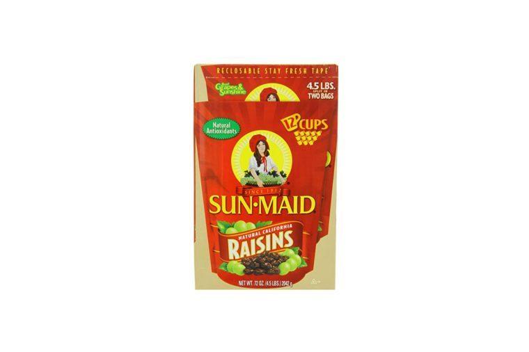 two bags of Sun-Maid raisins
