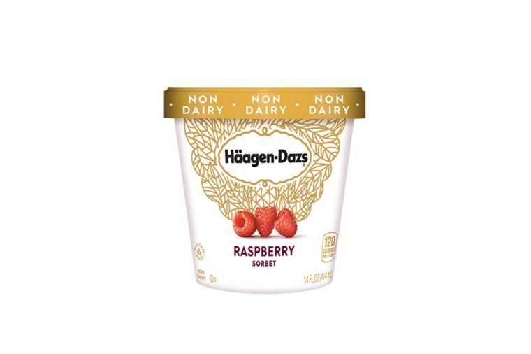 carton of Haagen-Dazs raspberry sorbet