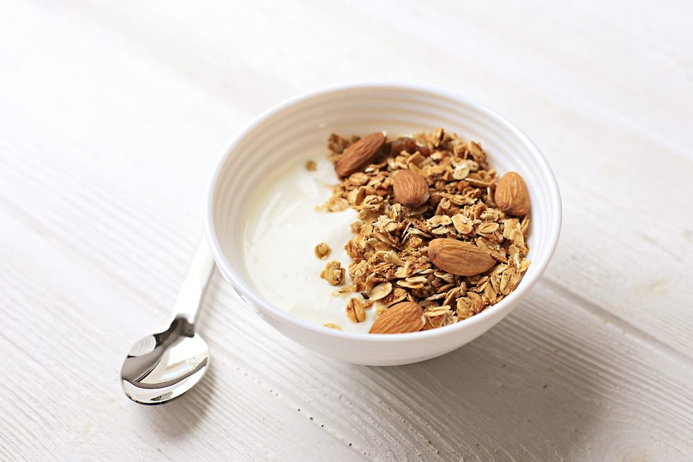 Bowl of whole grain muesli with yogurt