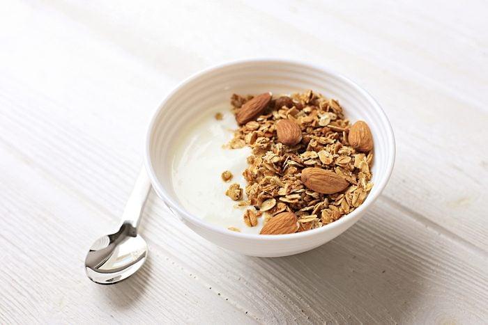 Bowl of whole grain muesli with yogurt