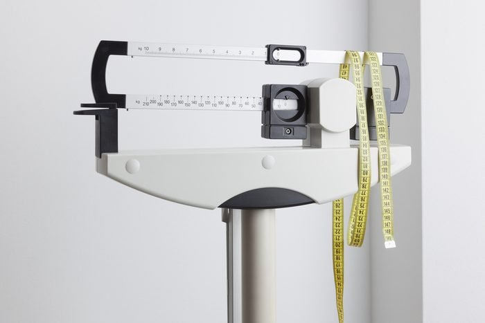 Medical weight scale and measuring tape