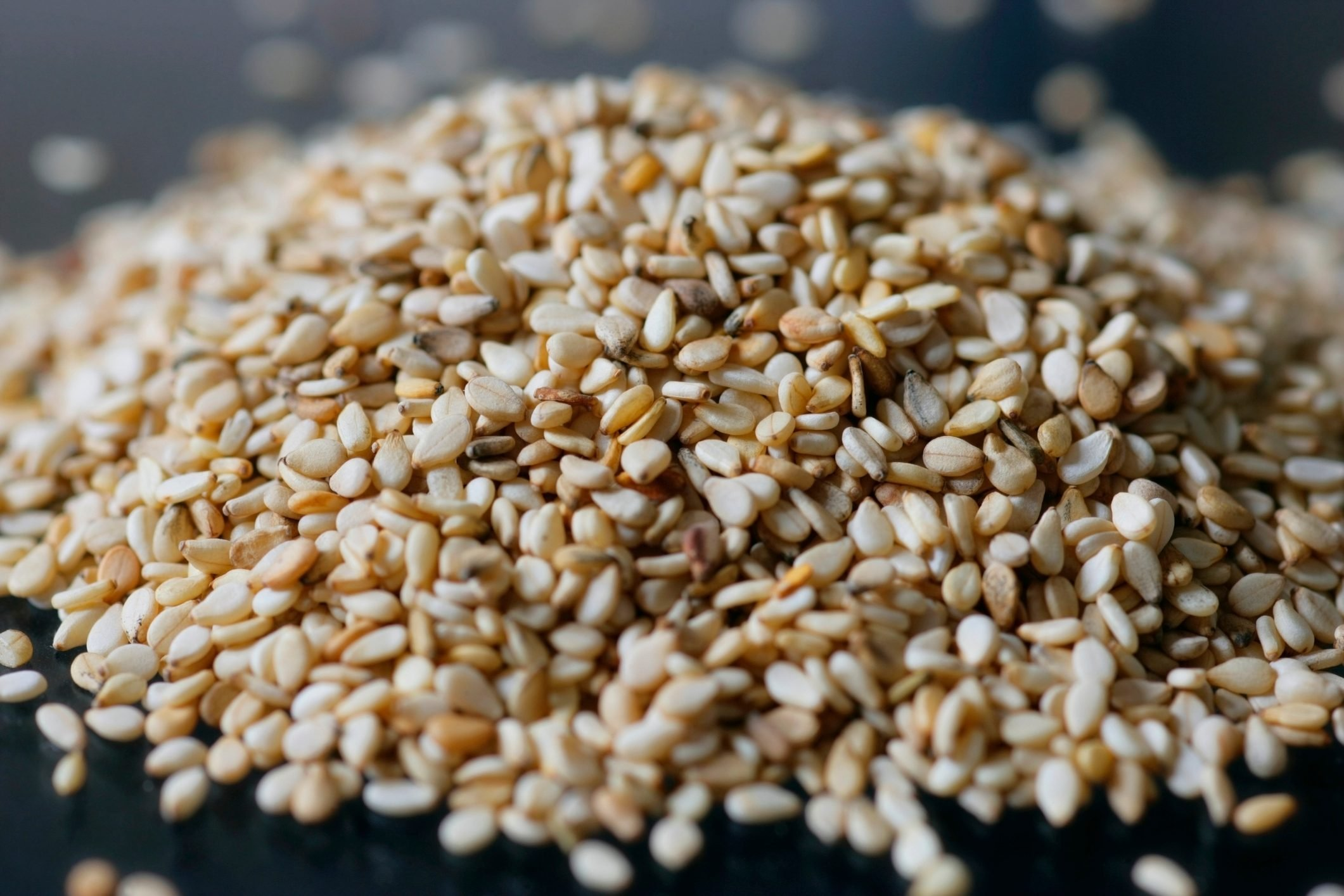 close up of sesame seeds