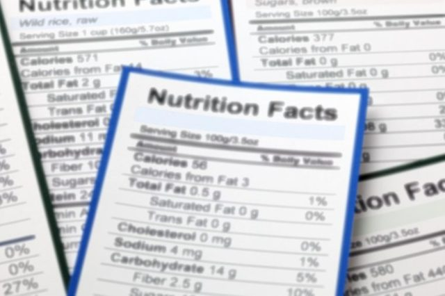 close up of nutrition label