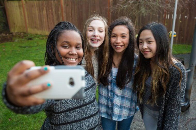Group of kids taking a selfie