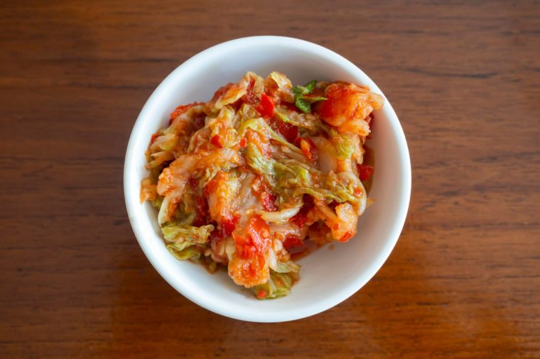 Kimchi, the most famous Korean traditional food. It's a basic Korean side dish made of vegetables with a variety of seasonings.