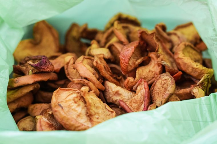 Dried apples in a bag