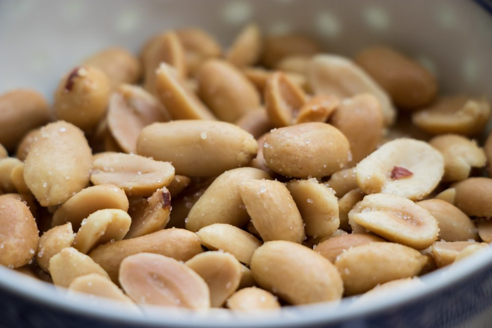 Peanuts in a bowl close up