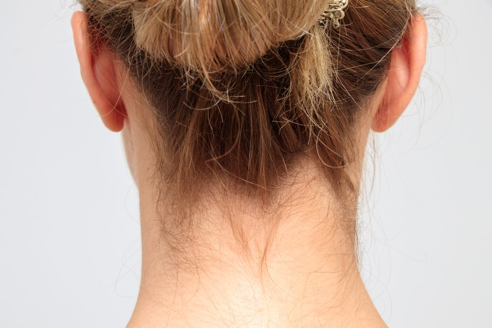 Nape of a young woman's neck