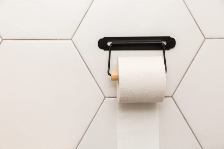 A white roll of soft toilet paper hanging on a modern chrome holder on a light bathroom wall.