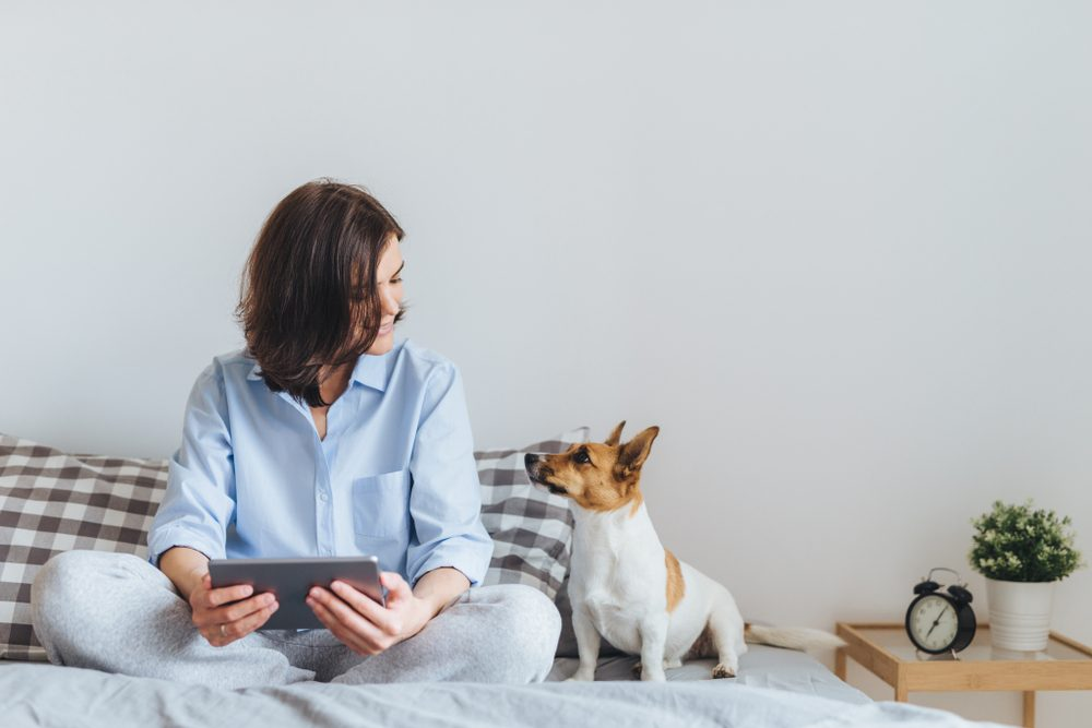 woman with laptop sits on bed with dog