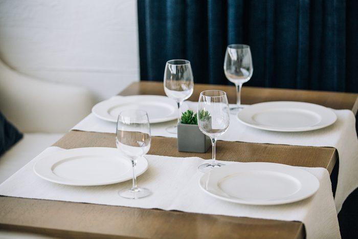 table setting, restaurant interior