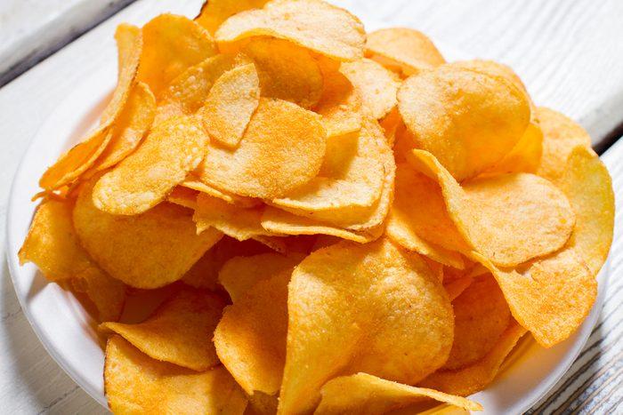Potato chips on a plate