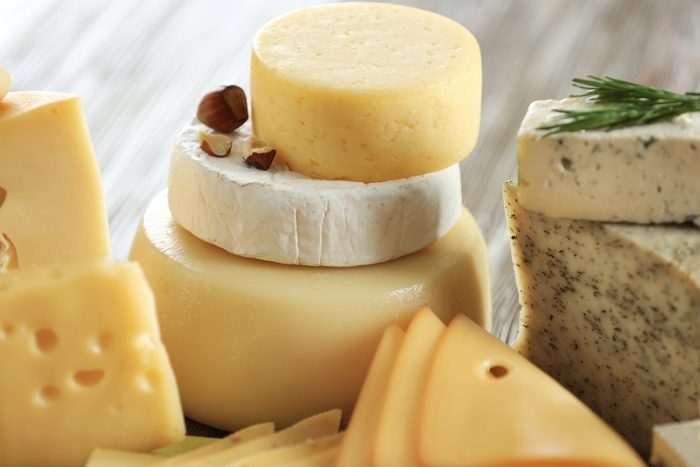 stacks of different cheeses