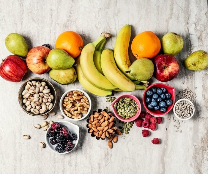 variety of fruits and nuts shot from above