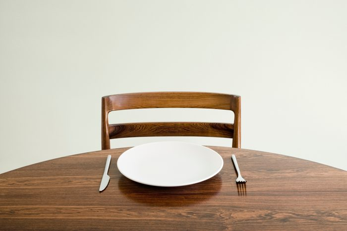 place setting on table with empty plate fork and knife