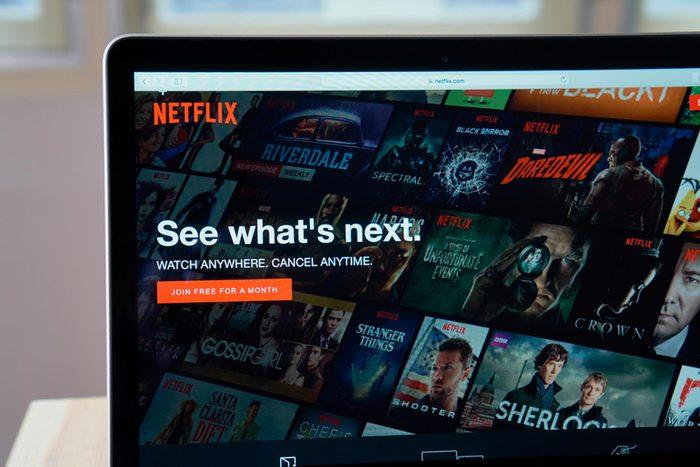 Netflix on laptop screen